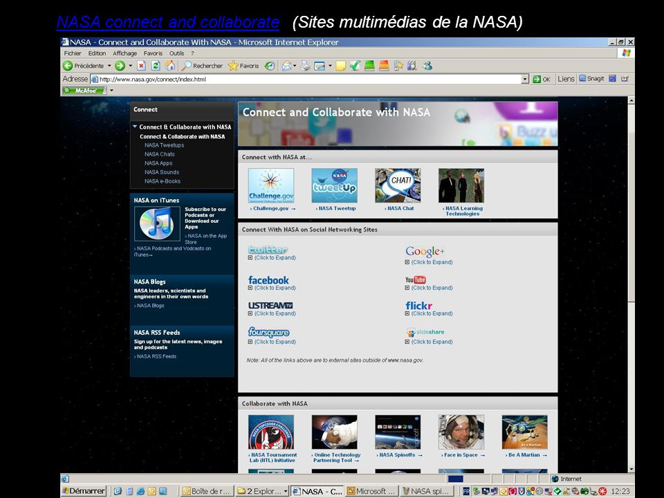 NASA connect and collaborate(Sites multimédias de la NASA)