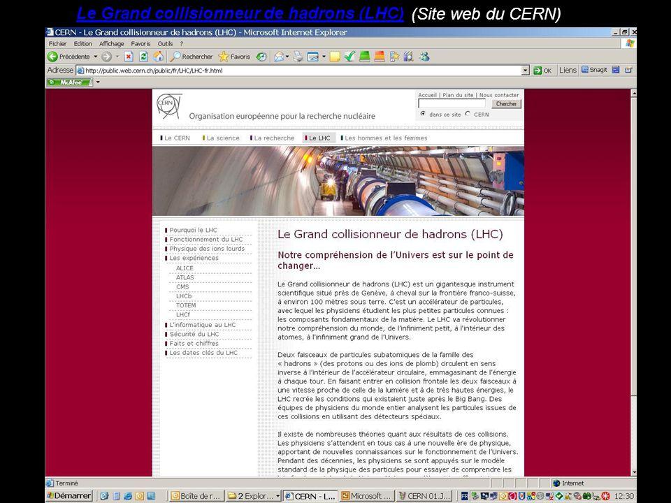 Le Grand collisionneur de hadrons (LHC) (Site web du CERN)
