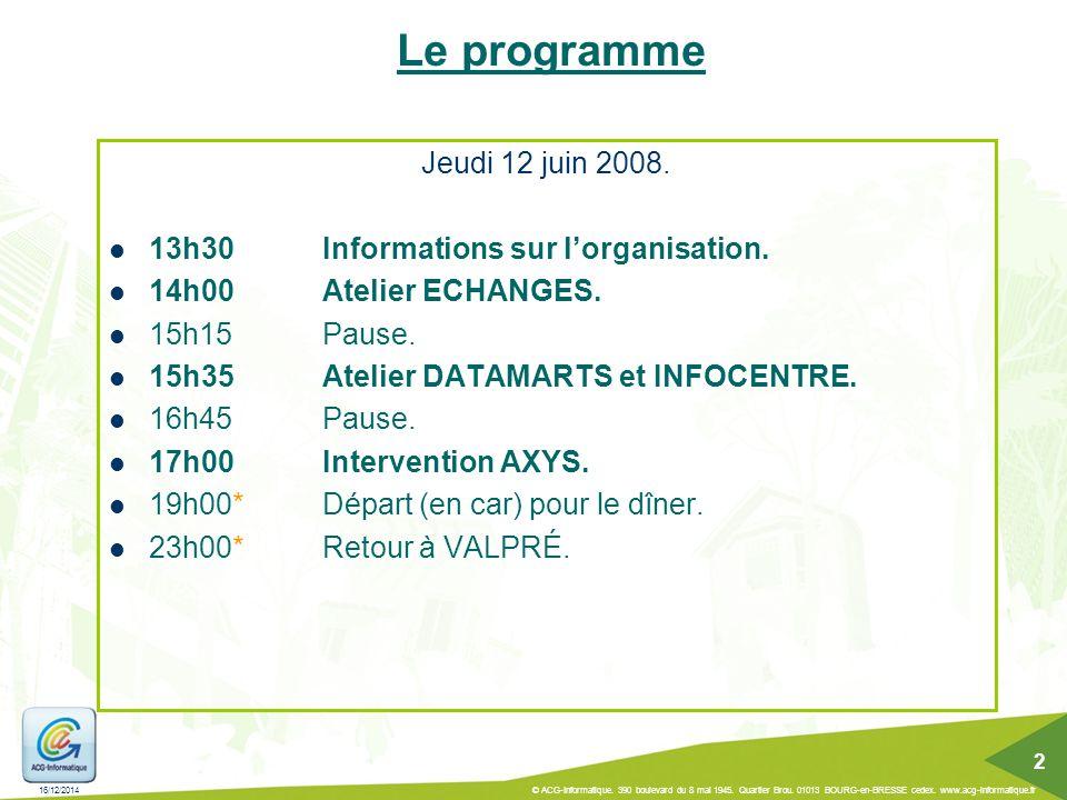 16/12/2014 © ACG-Informatique. 390 boulevard du 8 mai 1945. Quartier Brou. 01013 BOURG-en-BRESSE cedex. www.acg-informatique.fr 2 Le programme Jeudi 1