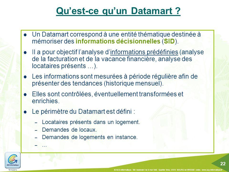 Qu'est-ce qu'un Datamart ? Un Datamart correspond à une entité thématique destinée à mémoriser des informations décisionnelles (SID). Il a pour object