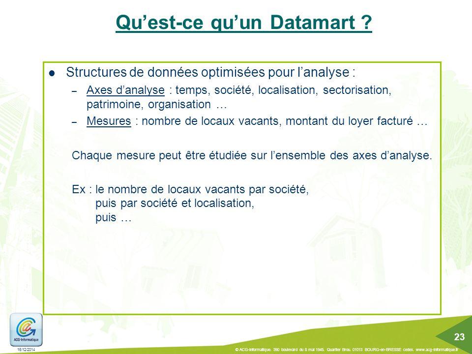 Qu'est-ce qu'un Datamart ? Structures de données optimisées pour l'analyse : – Axes d'analyse : temps, société, localisation, sectorisation, patrimoin