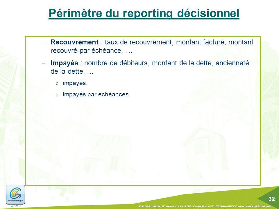 Périmètre du reporting décisionnel – Recouvrement : taux de recouvrement, montant facturé, montant recouvré par échéance, … – Impayés : nombre de débi
