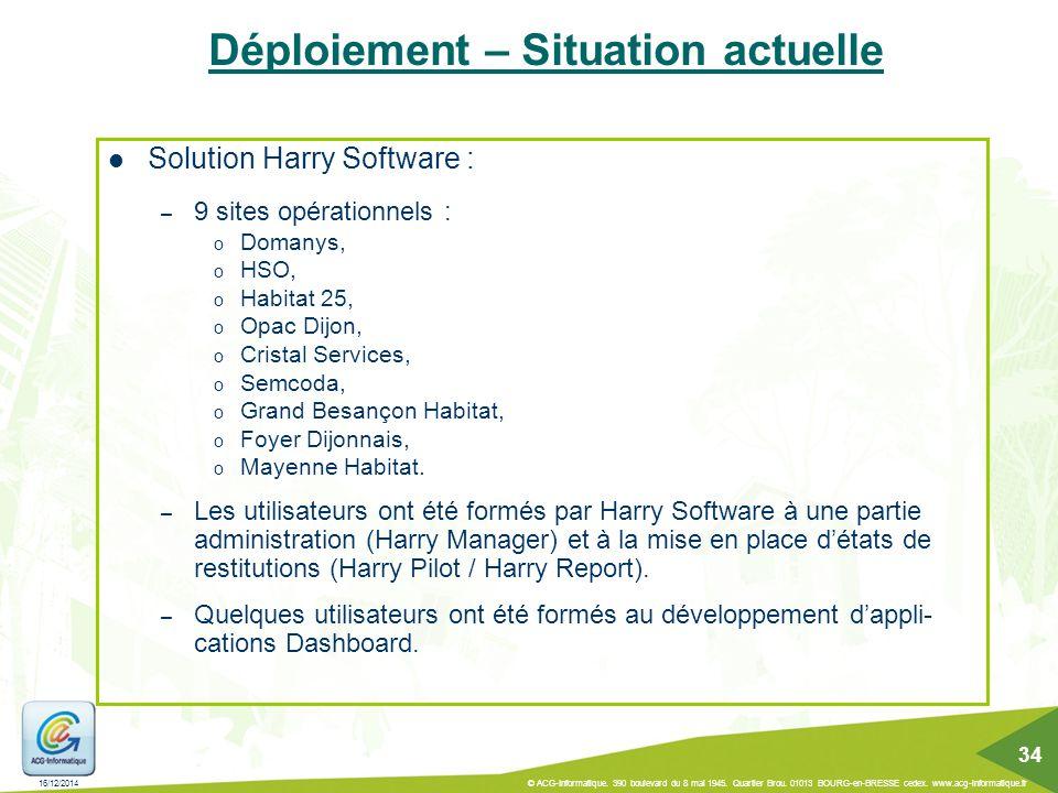 16/12/2014 © ACG-Informatique. 390 boulevard du 8 mai 1945. Quartier Brou. 01013 BOURG-en-BRESSE cedex. www.acg-informatique.fr 34 Solution Harry Soft