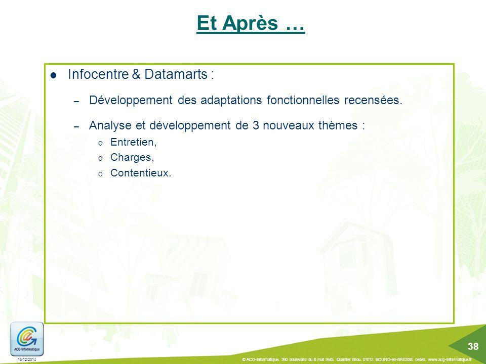 Et Après … Infocentre & Datamarts : – Développement des adaptations fonctionnelles recensées. – Analyse et développement de 3 nouveaux thèmes : o Entr