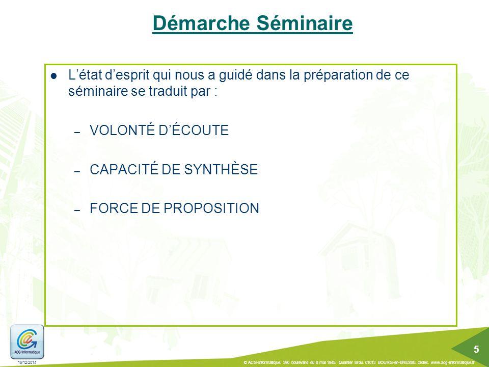 16/12/2014 © ACG-Informatique. 390 boulevard du 8 mai 1945. Quartier Brou. 01013 BOURG-en-BRESSE cedex. www.acg-informatique.fr 5 Démarche Séminaire L