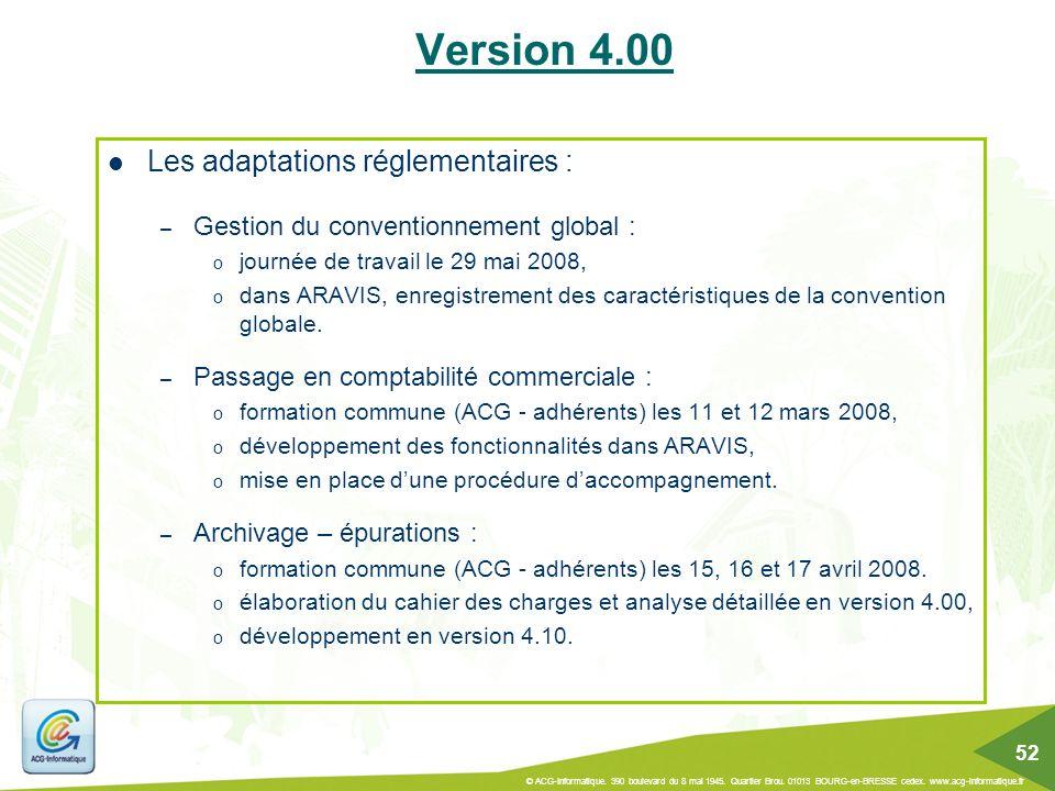 Les adaptations réglementaires : – Gestion du conventionnement global : o journée de travail le 29 mai 2008, o dans ARAVIS, enregistrement des caracté