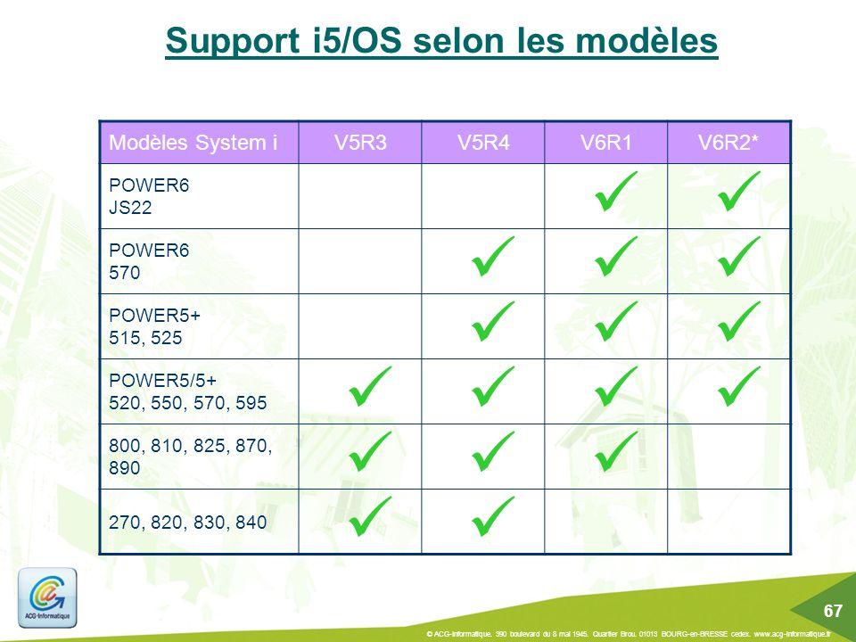 Support i5/OS selon les modèles Modèles System iV5R3V5R4V6R1V6R2* POWER6 JS22 POWER6 570 POWER5+ 515, 525 POWER5/5+ 520, 550, 570, 595 800, 810, 825,
