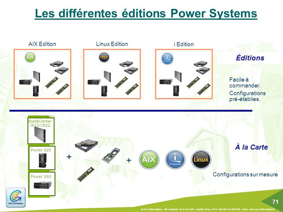 Les différentes éditions Power Systems Éditions Facile à commander. Configurations pré-établies. AIX EditionLinux Edition i Edition À la Carte Configu