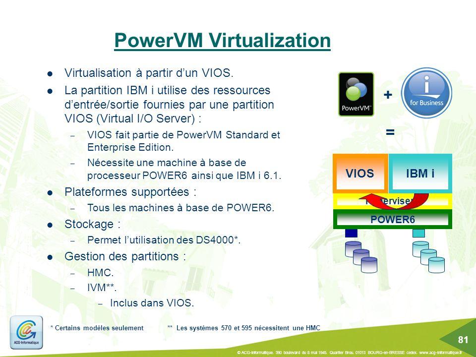 PowerVM Virtualization ** Les systèmes 570 et 595 nécessitent une HMC VIOS Virtualisation à partir d'un VIOS. La partition IBM i utilise des ressource