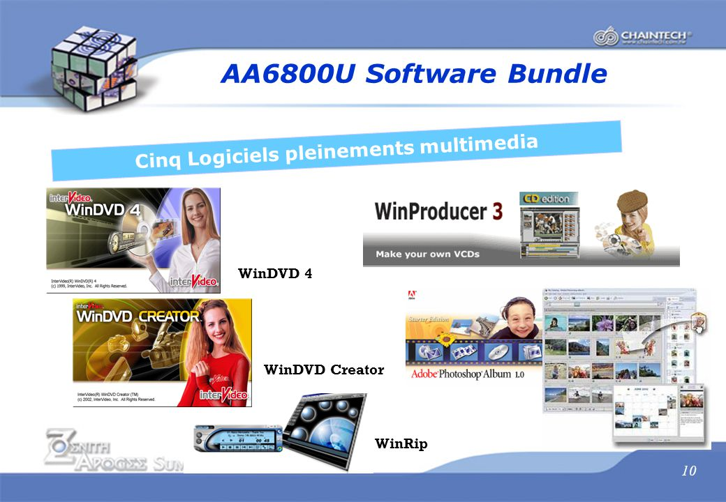 10 AA6800U Software Bundle Cinq Logiciels pleinements multimedia WinDVD 4 WinDVD Creator WinRip