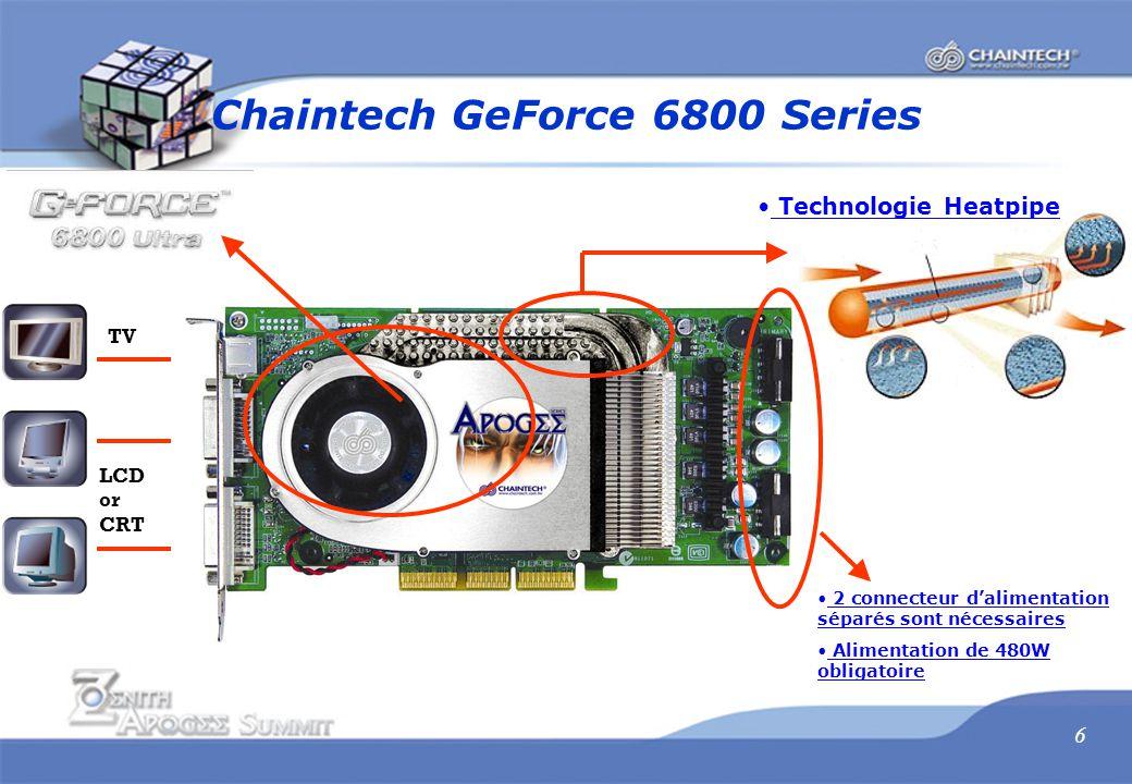 6 Technologie Heatpipe 2 connecteur d'alimentation séparés sont nécessaires Alimentation de 480W obligatoire Chaintech GeForce 6800 Series TV LCD or CRT
