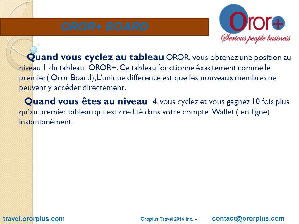 OROR+ BOARD travel.ororplus.com Quand vous cyclez au tableau OROR, vous obtenez une position au niveau 1 du tableau OROR+.
