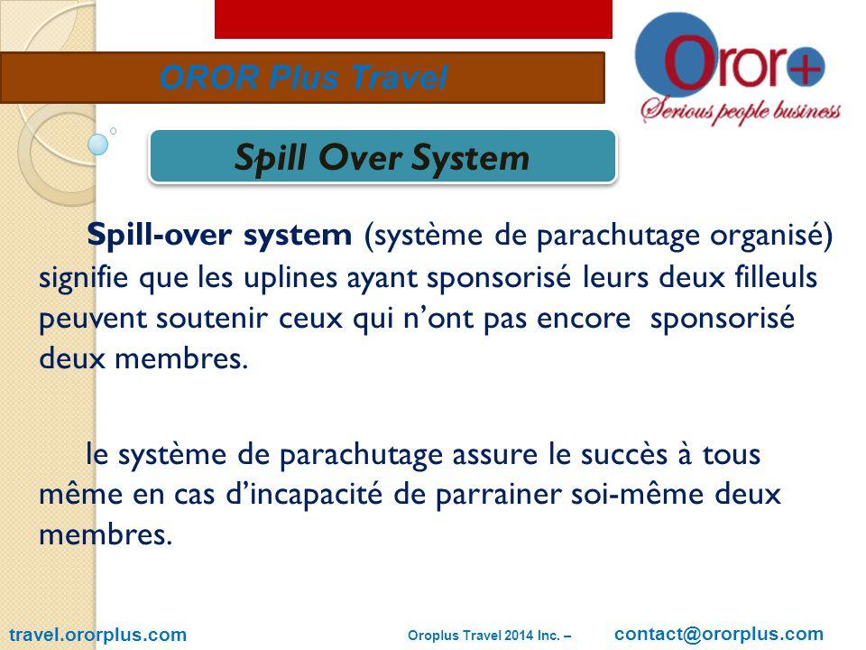 travel.ororplus.com OROR Plus Travel Spill-over system (système de parachutage organisé) signifie que les uplines ayant sponsorisé leurs deux filleuls peuvent soutenir ceux qui n'ont pas encore sponsorisé deux membres.