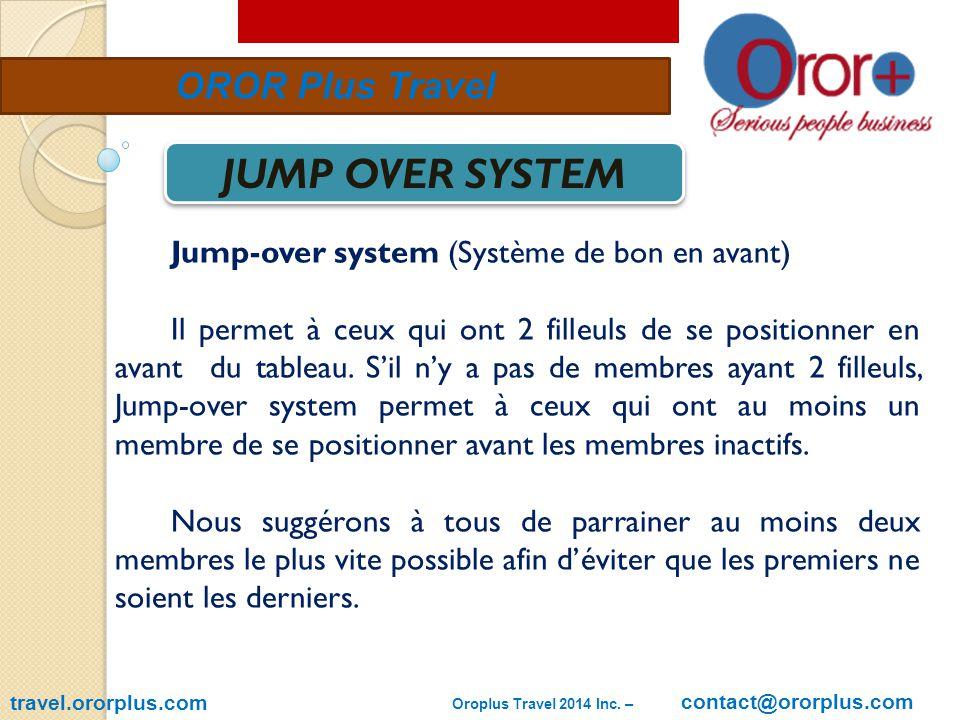 travel.ororplus.com OROR Plus Travel JUMP OVER SYSTEM Jump-over system (Système de bon en avant) Il permet à ceux qui ont 2 filleuls de se positionner en avant du tableau.