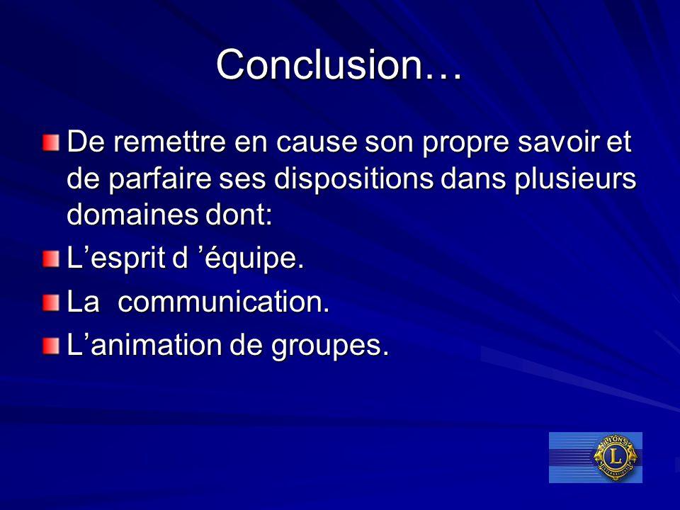 Conclusion… De remettre en cause son propre savoir et de parfaire ses dispositions dans plusieurs domaines dont: L'esprit d 'équipe. La communication.