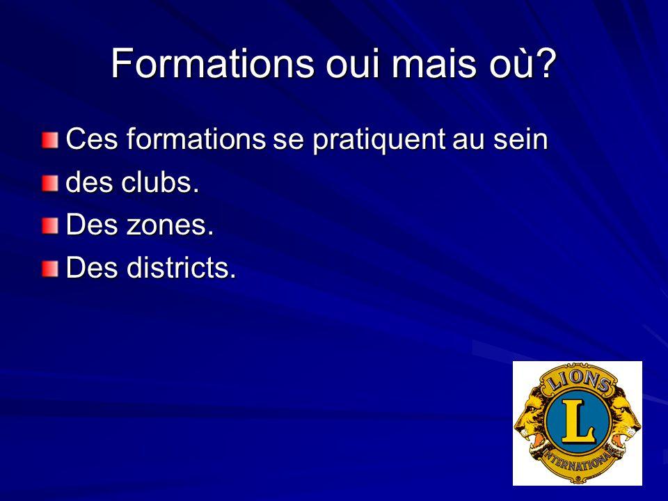Formations oui mais où? Ces formations se pratiquent au sein des clubs. Des zones. Des districts.