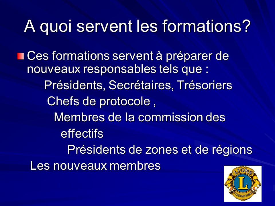 A quoi servent les formations? Ces formations servent à préparer de nouveaux responsables tels que : Présidents, Secrétaires, Trésoriers Chefs de prot