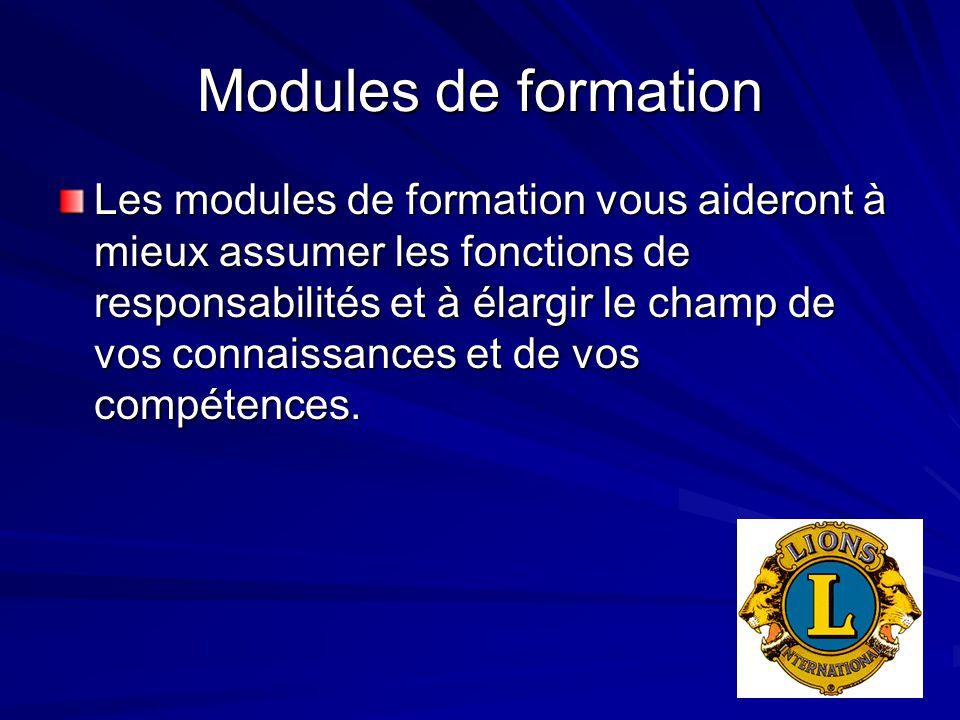 Modules de formation Les modules de formation vous aideront à mieux assumer les fonctions de responsabilités et à élargir le champ de vos connaissances et de vos compétences.