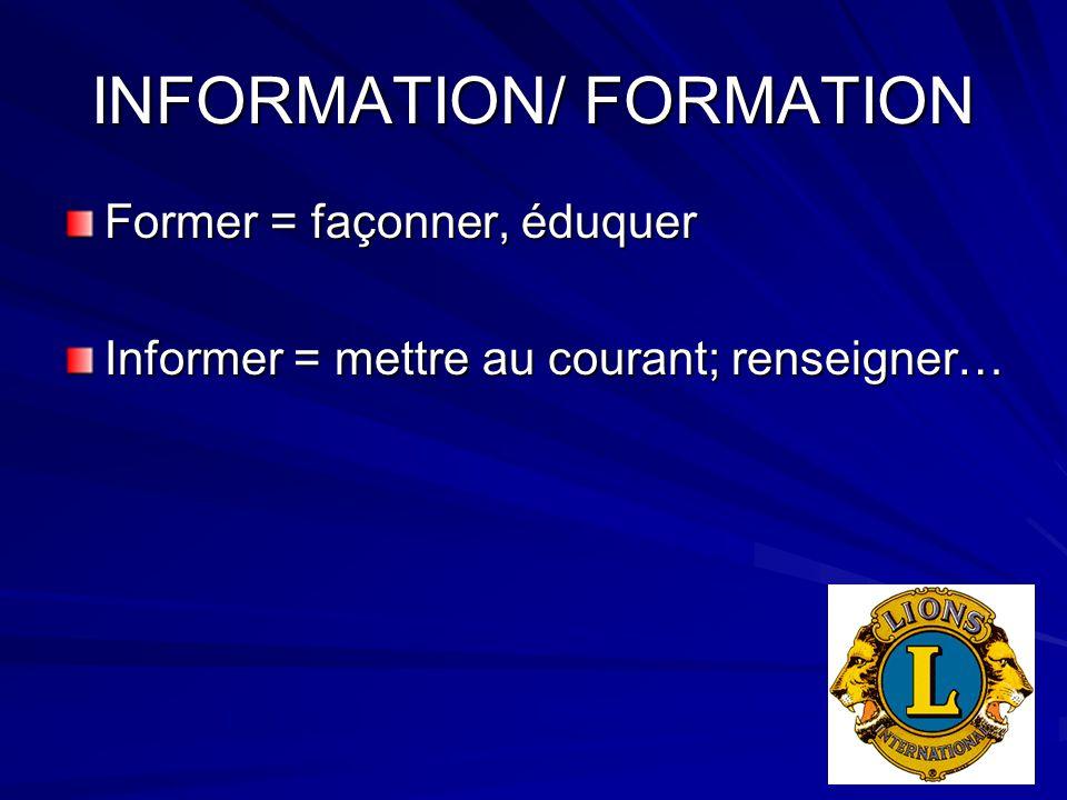 INFORMATION/ FORMATION Former = façonner, éduquer Informer = mettre au courant; renseigner…
