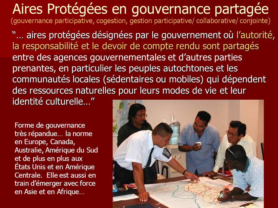 """""""… aires protégées désignées par le gouvernement où l'autorité, la responsabilité et le devoir de compte rendu sont partagés particulier les peuples a"""