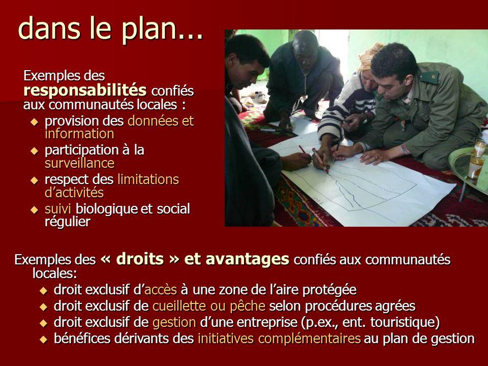 Exemples des responsabilités confiés aux communautés locales :  provision des données et information  participation à la surveillance  respect des