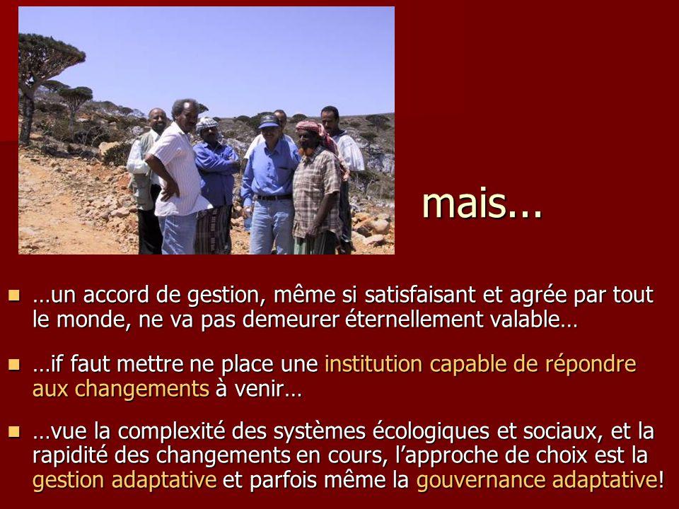 mais... …un accord de gestion, même si satisfaisant et agrée par tout le monde, ne va pas demeurer éternellement valable… …un accord de gestion, même