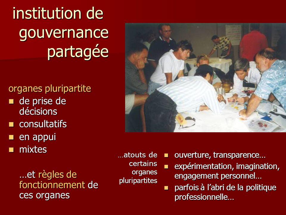 institution de gouvernance partagée organes pluripartite de prise de décisions de prise de décisions consultatifs consultatifs en appui en appui mixte