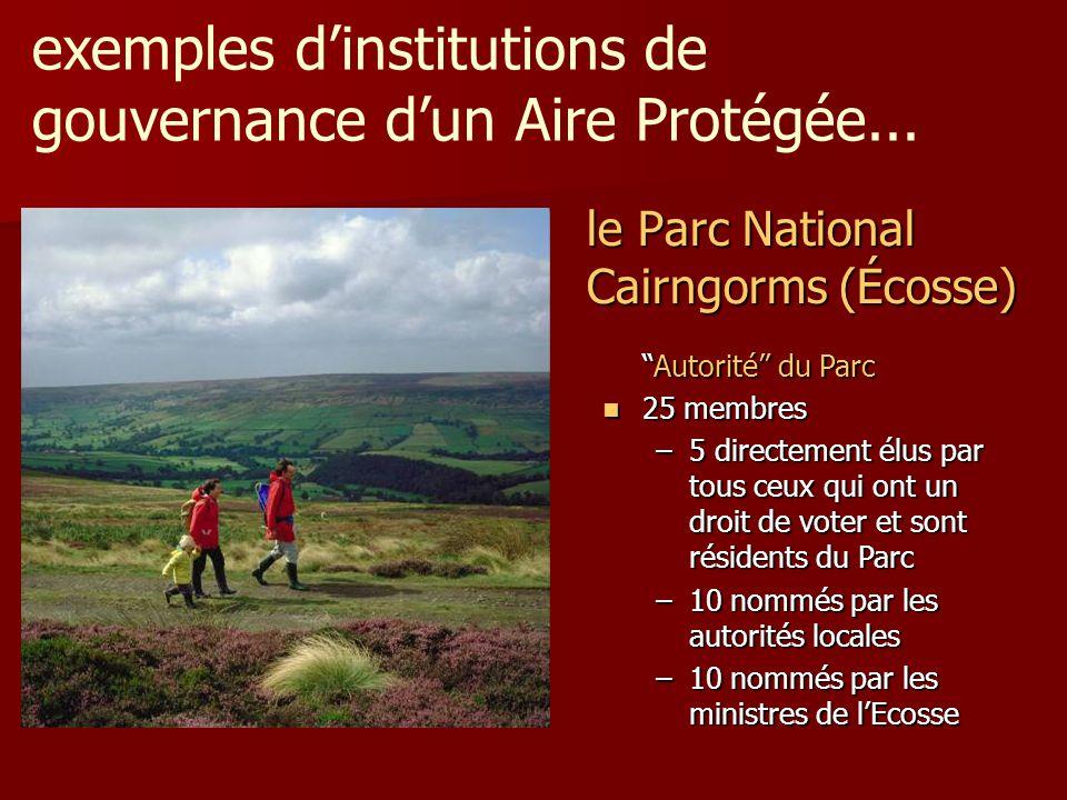 """le Parc National Cairngorms (Écosse) """"Autorité"""" du Parc 25 membres 25 membres –5 directement élus par tous ceux qui ont un droit de voter et sont rési"""