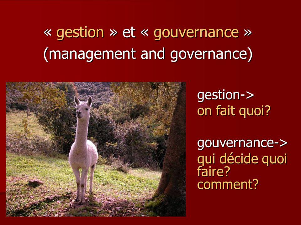 « gestion » et « gouvernance » (management and governance) gestion-> on fait quoi? gouvernance-> qui décide quoi faire? comment?