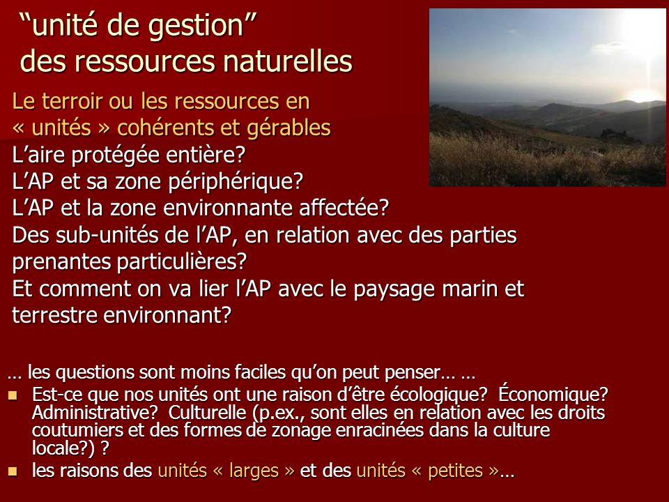 … les questions sont moins faciles qu'on peut penser… … Est-ce que nos unités ont une raison d'être écologique? Économique? Administrative? Culturelle
