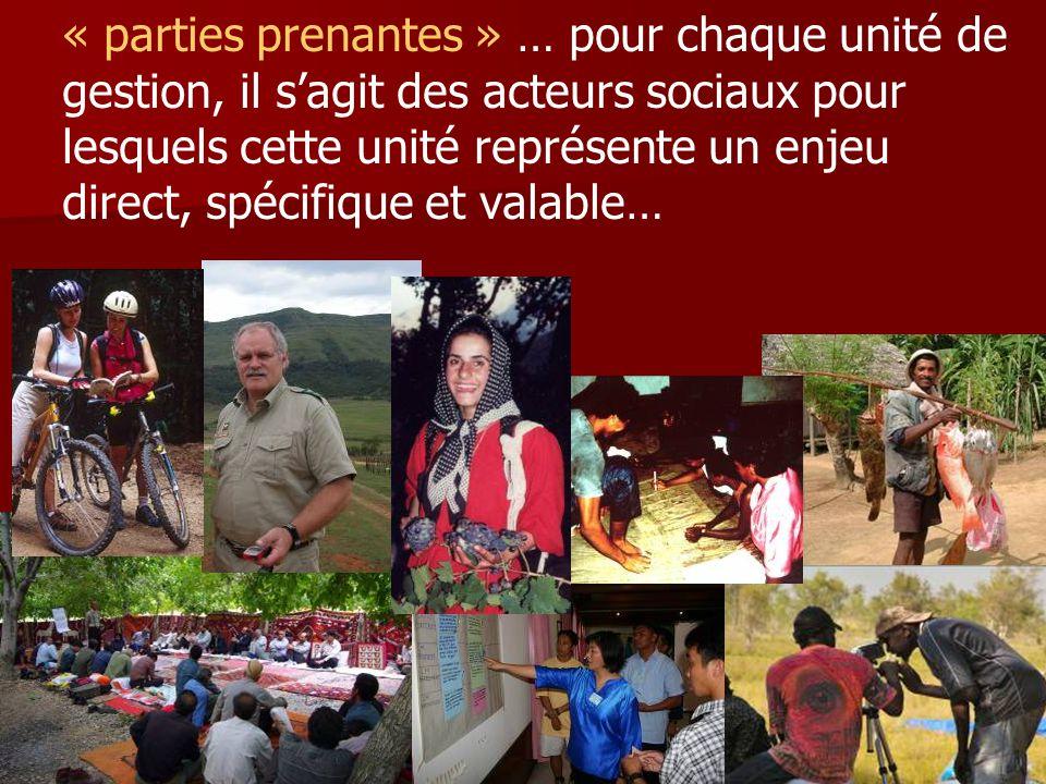 « parties prenantes » … pour chaque unité de gestion, il s'agit des acteurs sociaux pour lesquels cette unité représente un enjeu direct, spécifique e