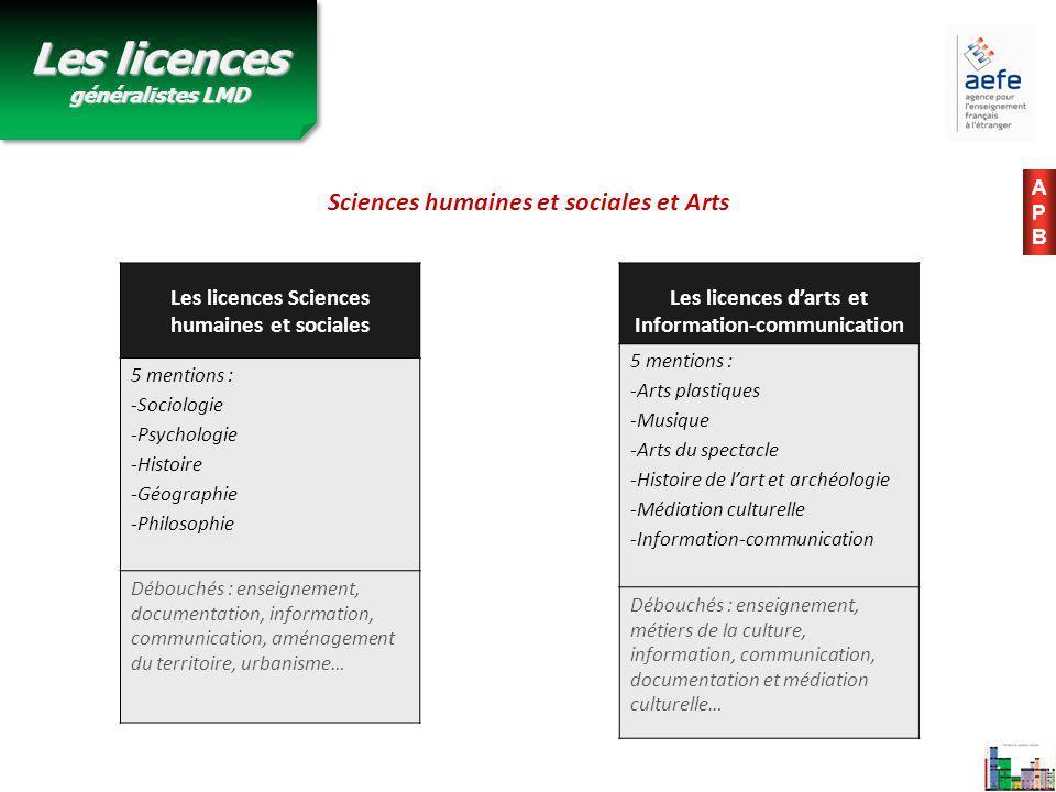 Les licences d'arts et Information-communication 5 mentions : -Arts plastiques -Musique -Arts du spectacle -Histoire de l'art et archéologie -Médiatio