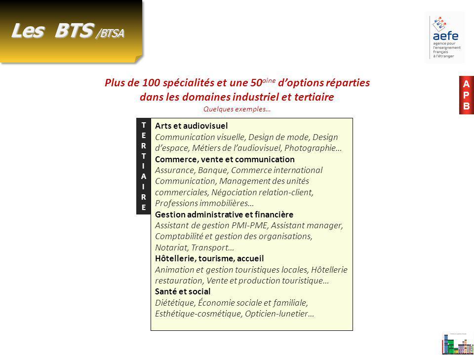 Plus de 100 spécialités et une 50 aine d'options réparties dans les domaines industriel et tertiaire Quelques exemples… Les BTS /BTSA Arts et audiovis