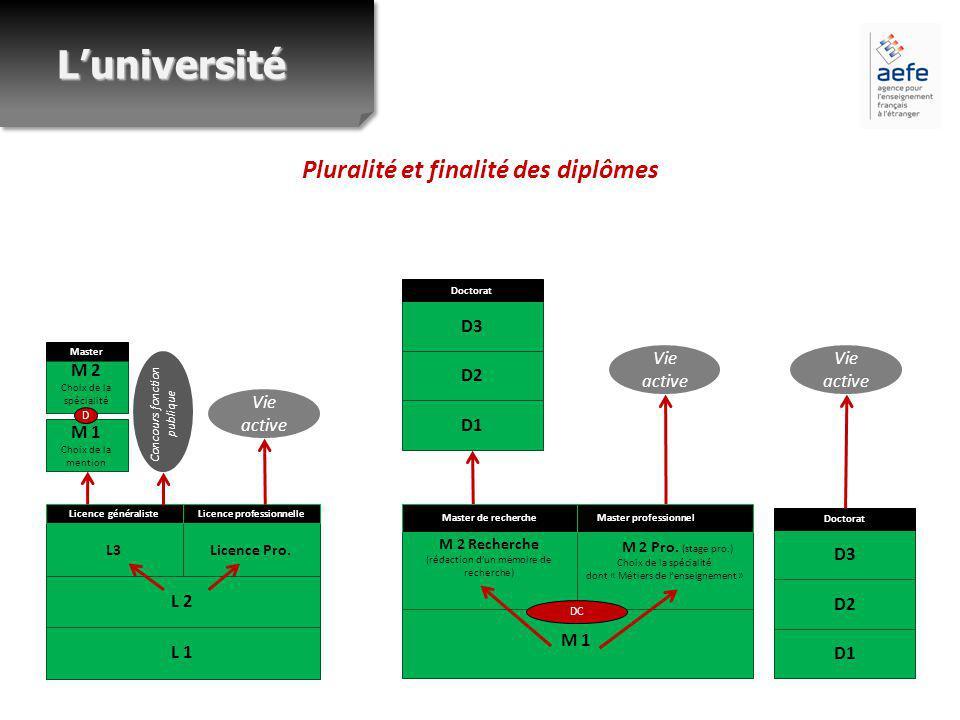 Pluralité et finalité des diplômes L 2 L 1 L3 Licence généraliste Licence Pro.