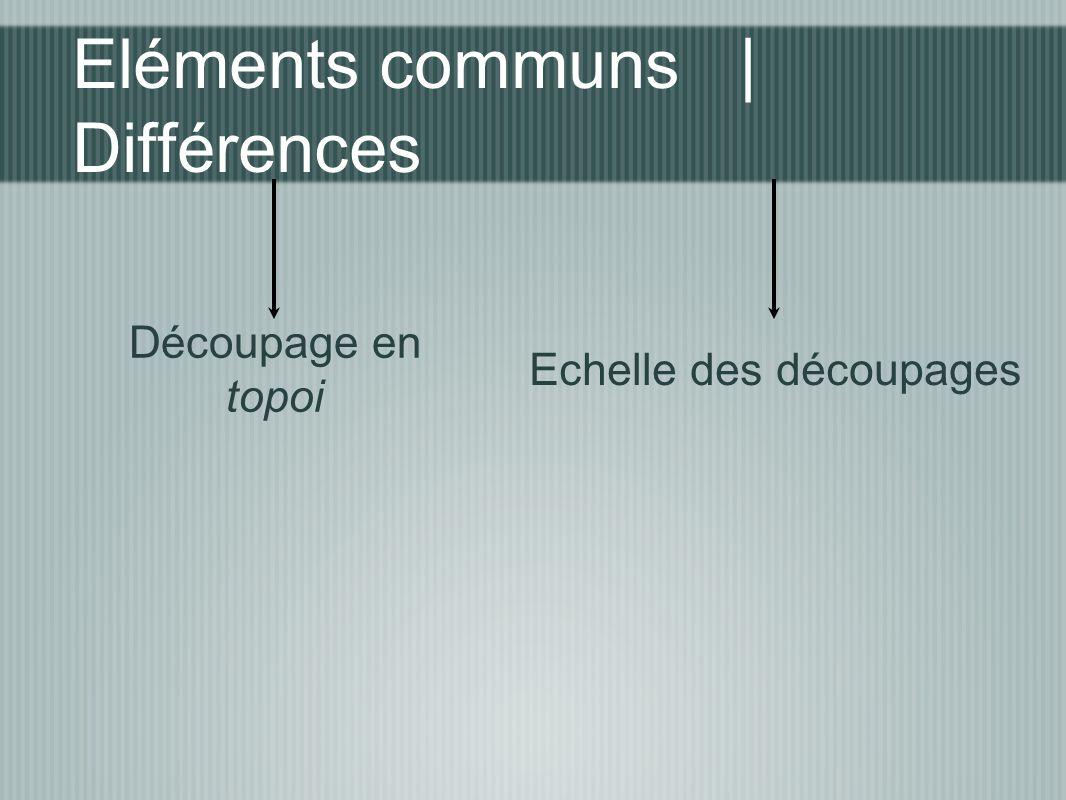 Eléments communs | Différences Découpage en topoi Echelle des découpages