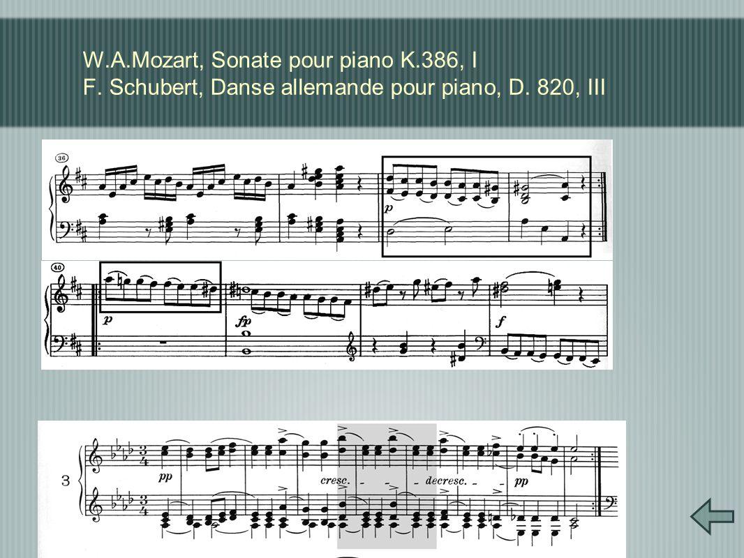 W.A.Mozart, Sonate pour piano K.386, I F. Schubert, Danse allemande pour piano, D. 820, III