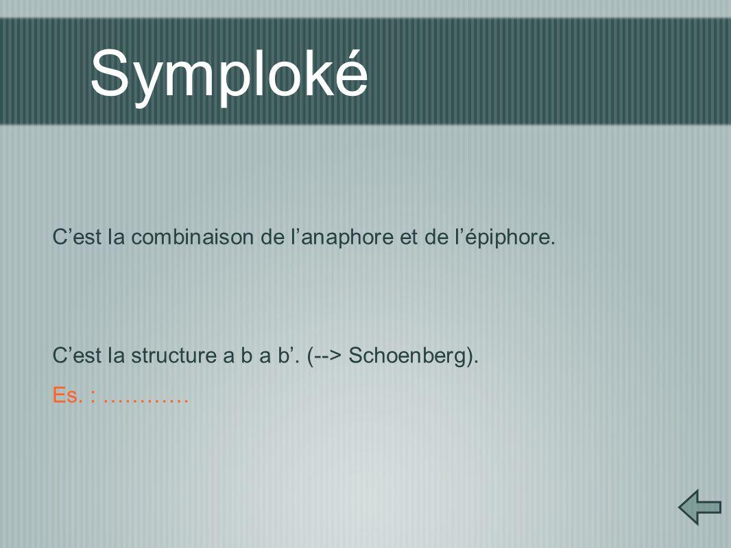 Symploké C'est la combinaison de l'anaphore et de l'épiphore. C'est la structure a b a b'. (--> Schoenberg). Es. : …………
