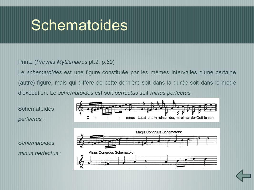 Schematoides Printz (Phrynis Mytilenaeus pt.2, p.69) Le schematoides est une figure constituée par les mêmes intervalles d'une certaine (autre) figure, mais qui diffère de cette dernière soit dans la durée soit dans le mode d'exécution.