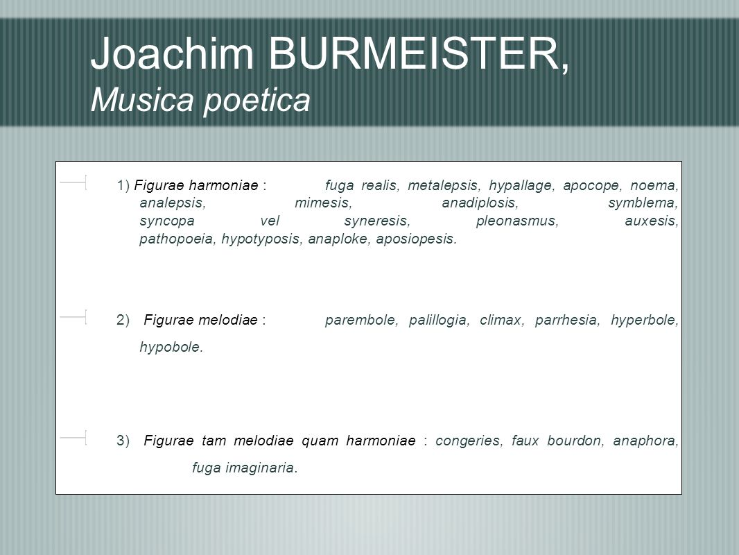 Joachim BURMEISTER, Musica poetica 1) Figurae harmoniae : fuga realis, metalepsis, hypallage, apocope, noema, analepsis, mimesis, anadiplosis, symblema, syncopa vel syneresis, pleonasmus, auxesis, pathopoeia, hypotyposis, anaploke, aposiopesis.