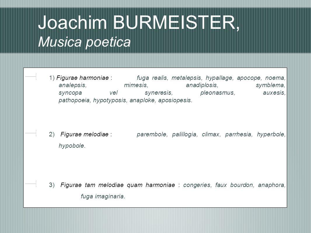 Joachim BURMEISTER, Musica poetica 1) Figurae harmoniae : fuga realis, metalepsis, hypallage, apocope, noema, analepsis, mimesis, anadiplosis, symblem