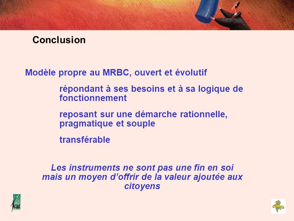 Modèle propre au MRBC, ouvert et évolutif répondant à ses besoins et à sa logique de fonctionnement reposant sur une démarche rationnelle, pragmatique