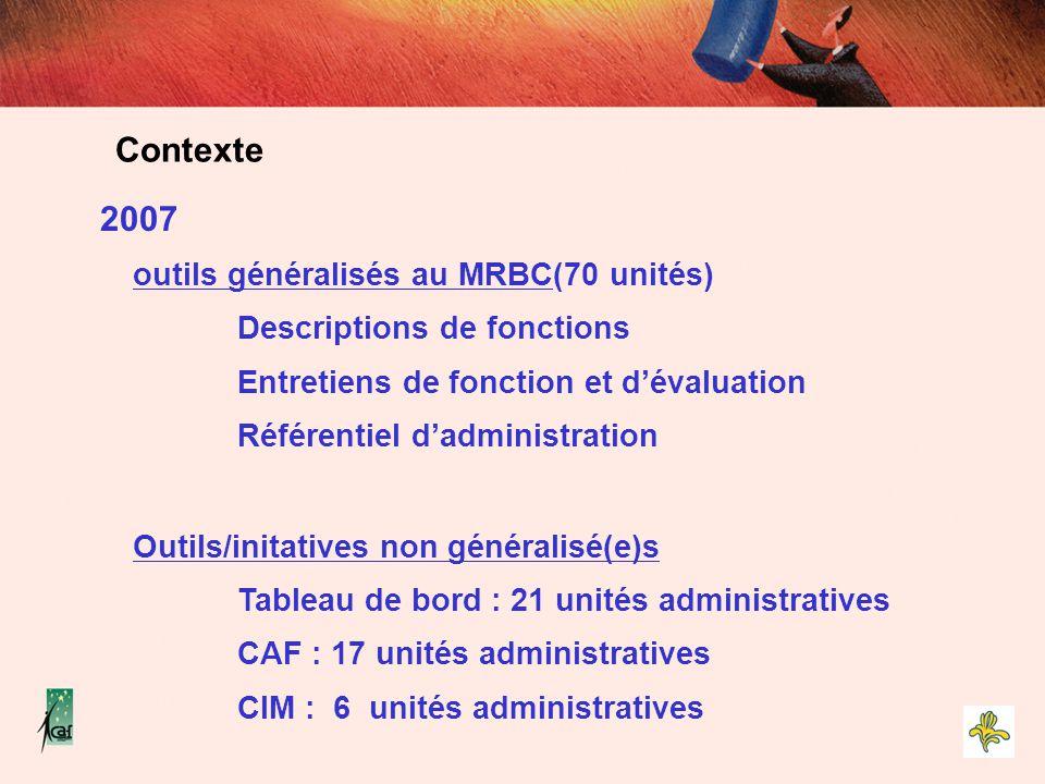 2007 outils généralisés au MRBC(70 unités) Descriptions de fonctions Entretiens de fonction et d'évaluation Référentiel d'administration Outils/initat