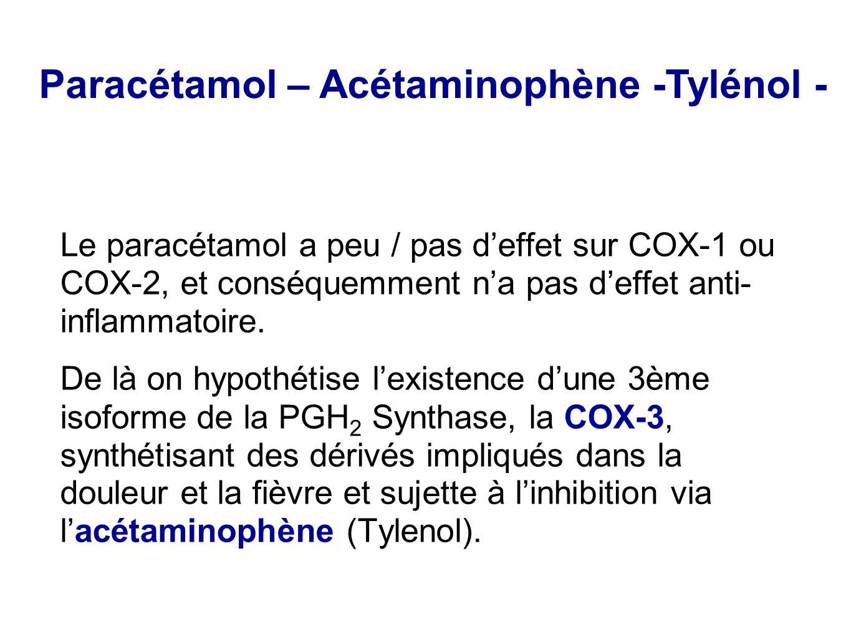 Le paracétamol a peu / pas d'effet sur COX-1 ou COX-2, et conséquemment n'a pas d'effet anti- inflammatoire. De là on hypothétise l'existence d'une 3è