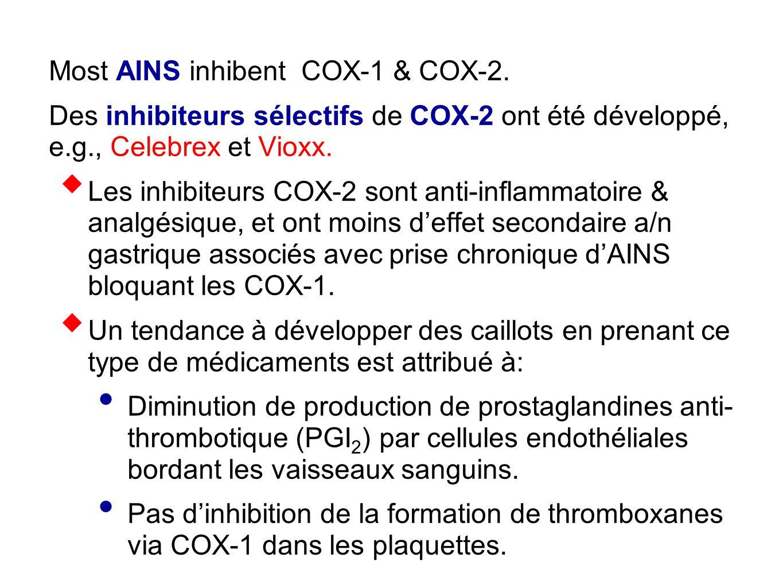 Most AINS inhibent COX-1 & COX-2. Des inhibiteurs sélectifs de COX-2 ont été développé, e.g., Celebrex et Vioxx.  Les inhibiteurs COX-2 sont anti-inf