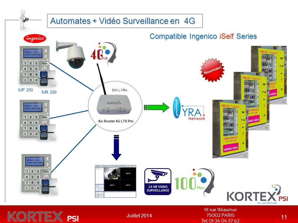 Juillet 2014 11 Automates + Vidéo Surveillance en 4G Compatible Ingenico iSelf Series Kx Router 4G LTE Pro SIM LYRA IUP 250 IUR 250