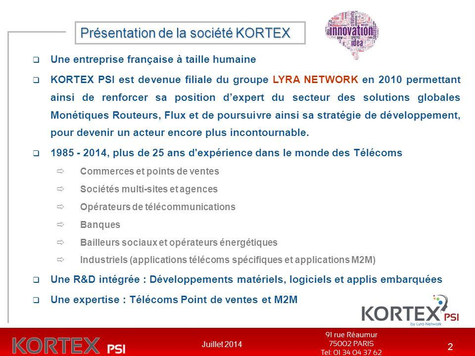 Juillet 2014 2  Une entreprise française à taille humaine  KORTEX PSI est devenue filiale du groupe LYRA NETWORK en 2010 permettant ainsi de renforc