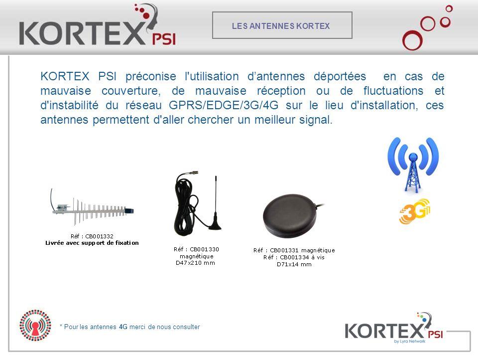 LES ANTENNES KORTEX KORTEX PSI préconise l'utilisation d'antennes déportées en cas de mauvaise couverture, de mauvaise réception ou de fluctuations et