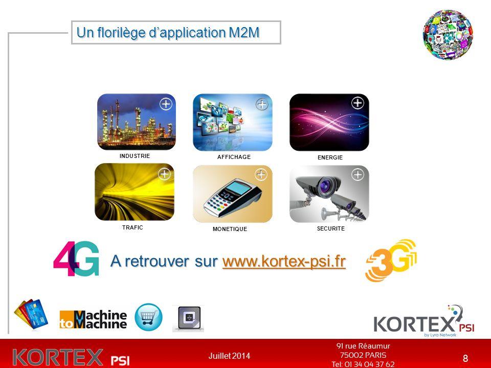 Juillet 2014 8 INDUSTRIE AFFICHAGE ENERGIE TRAFIC MONETIQUE SECURITE A retrouver sur www.kortex-psi.fr www.kortex-psi.fr Un florilège d'application M2