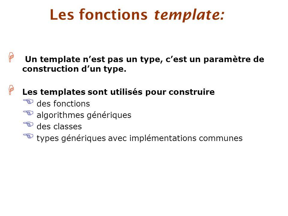 H Un template n'est pas un type, c'est un paramètre de construction d'un type.