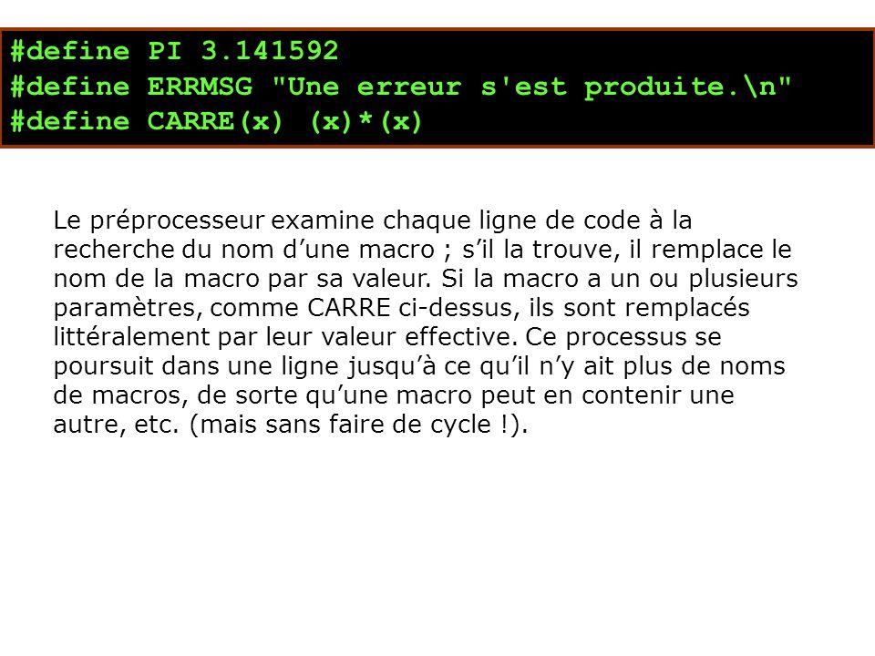 #define PI 3.141592 #define ERRMSG Une erreur s est produite.\n #define CARRE(x) (x)*(x) Le préprocesseur examine chaque ligne de code à la recherche du nom d'une macro ; s'il la trouve, il remplace le nom de la macro par sa valeur.